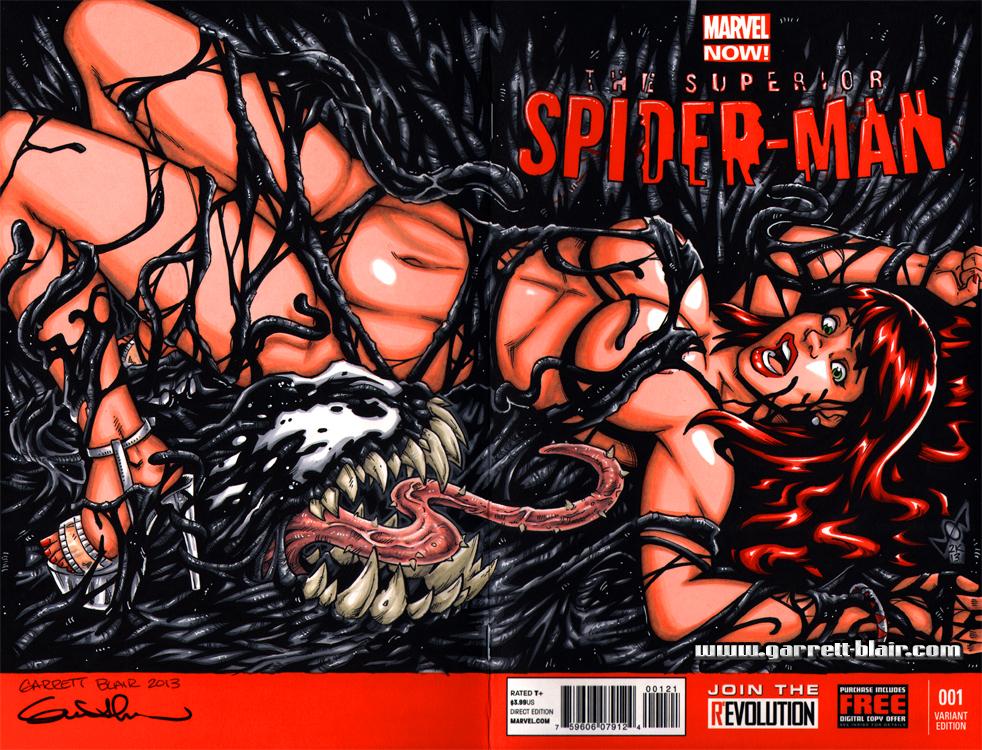 Mary Jane + Venom Symbiote sketch cover by gb2k
