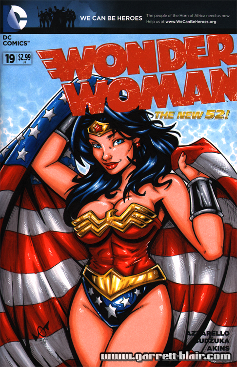 Wonder Woman patriotic sketch cover by gb2k