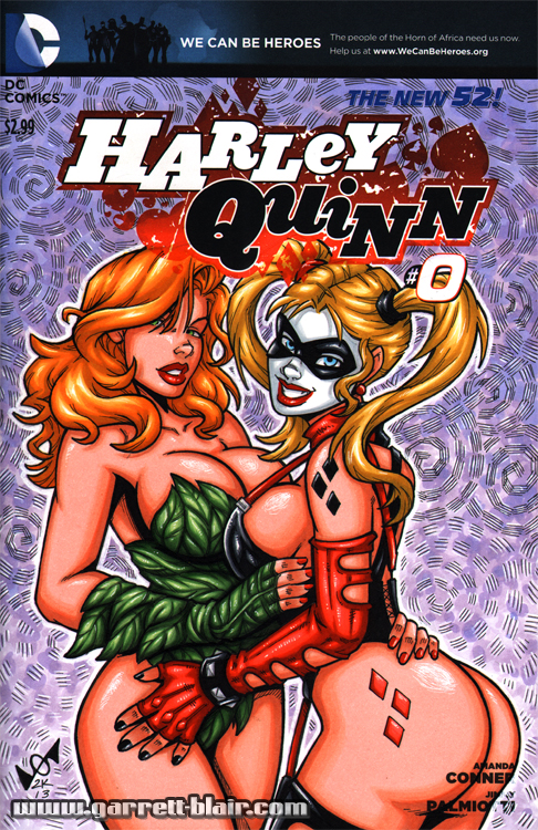 Harley Quinn + Poison Ivy sketch cover by gb2k