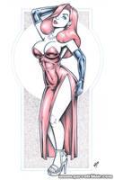 Jessica Rabbit blueline bodyshot by gb2k