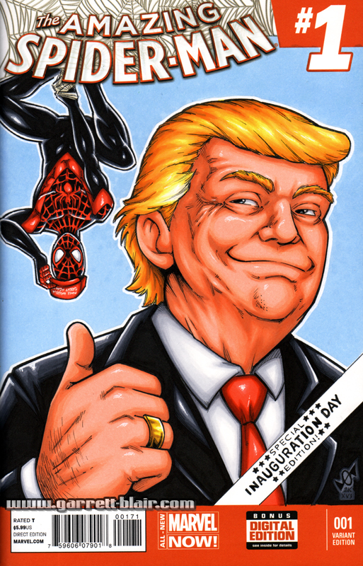 Trump / Spider-Man sketch cover by gb2k