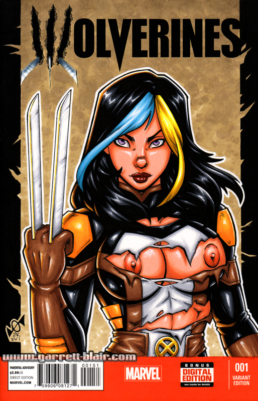 Naughty Battle Damage X-23 bust cover by gb2k