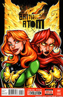 Phoenix + Dark Phoenix bust cover by gb2k