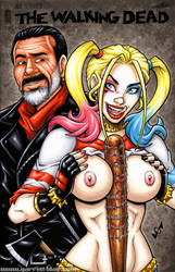 Naughty Harley + Negan sketch cover by gb2k