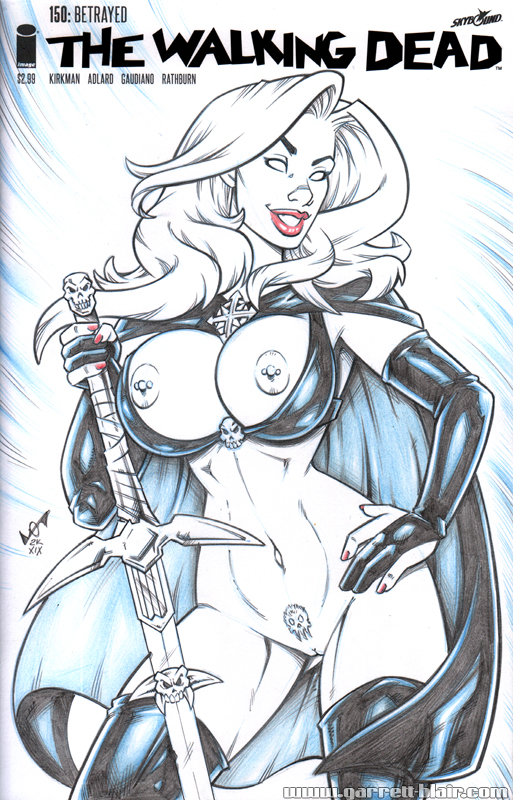 Naughty Lady Death blueline cover remake commissio by gb2k