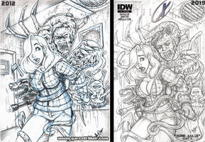 Jessica Rabbit meets the Thing cover pencils