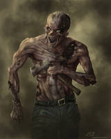 Zombie with hatchet by Shredguts