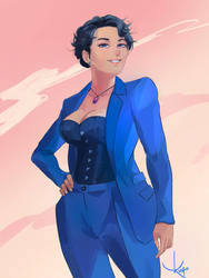 [Commission] Lady in Blue by RogerKmpo
