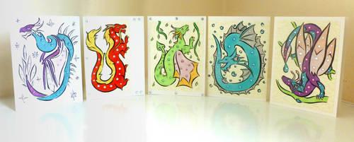 Handmade dragon cards