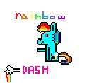 F2U Rainbow Dash pixel icon by IceBlueForever