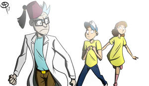 Grunkle Rick and the twins