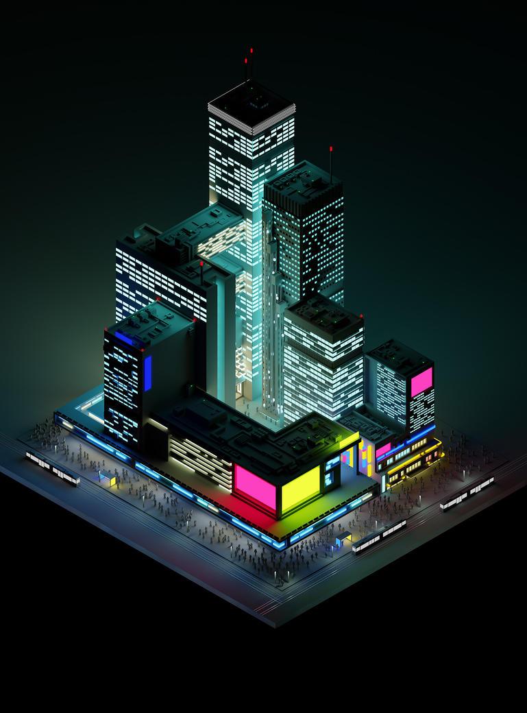Sci-fi city by cyrkiel-network