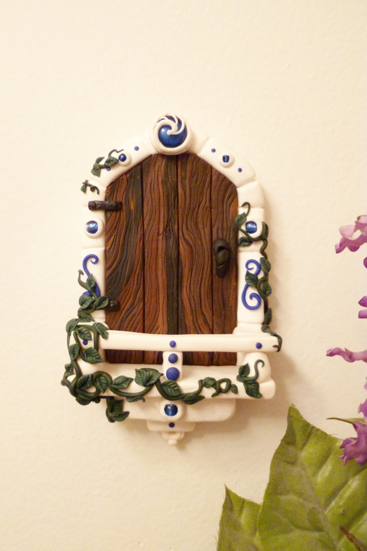 White fairy balcony with blue glass by flyingfrogcreations for White fairy door