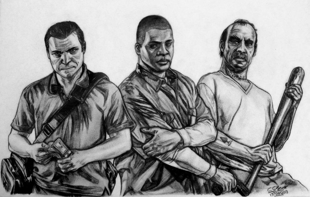 Grand Theft Auto Five Gta V Fan Art Drawing By Lethalchris On Gta 5 Coloring Pages