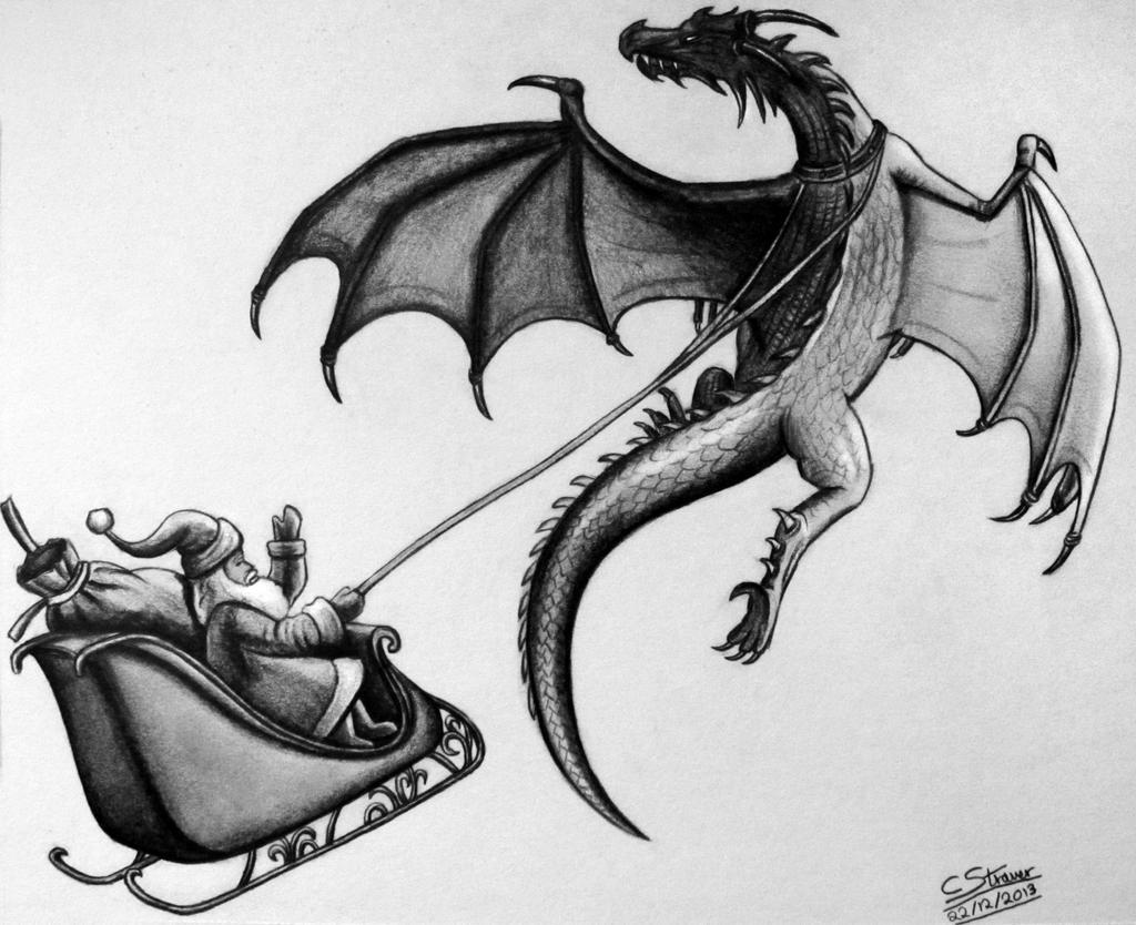 santa and his dragon drawing by lethalchris on deviantart