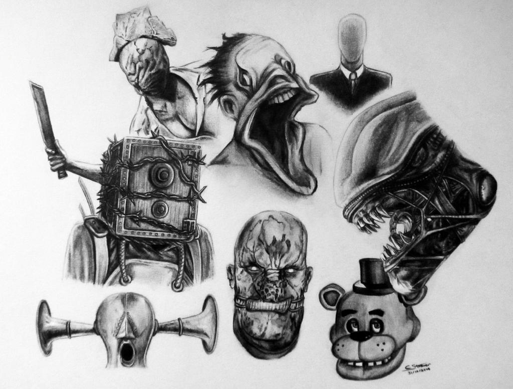 Halloween Drawing 2014 - Horror Game Characters by LethalChris