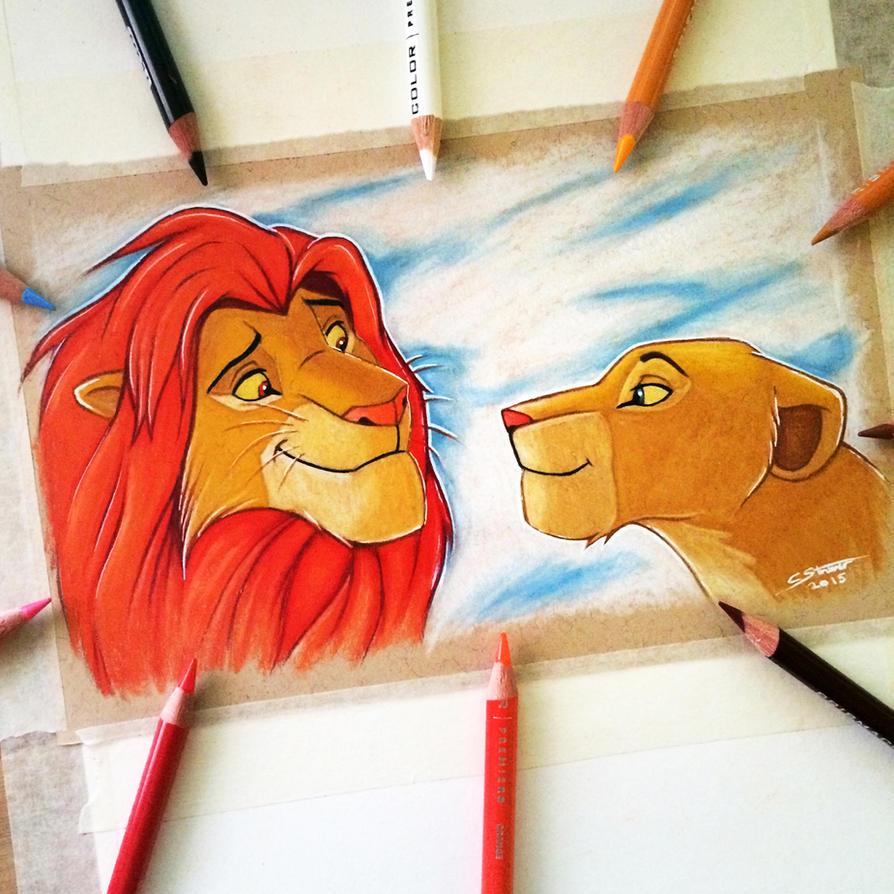 Simba and Nala Drawing by LethalChris