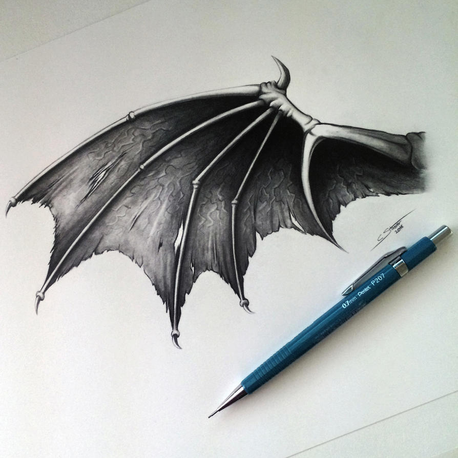 Demon/Dragon Wing Drawing by LethalChris on DeviantArt