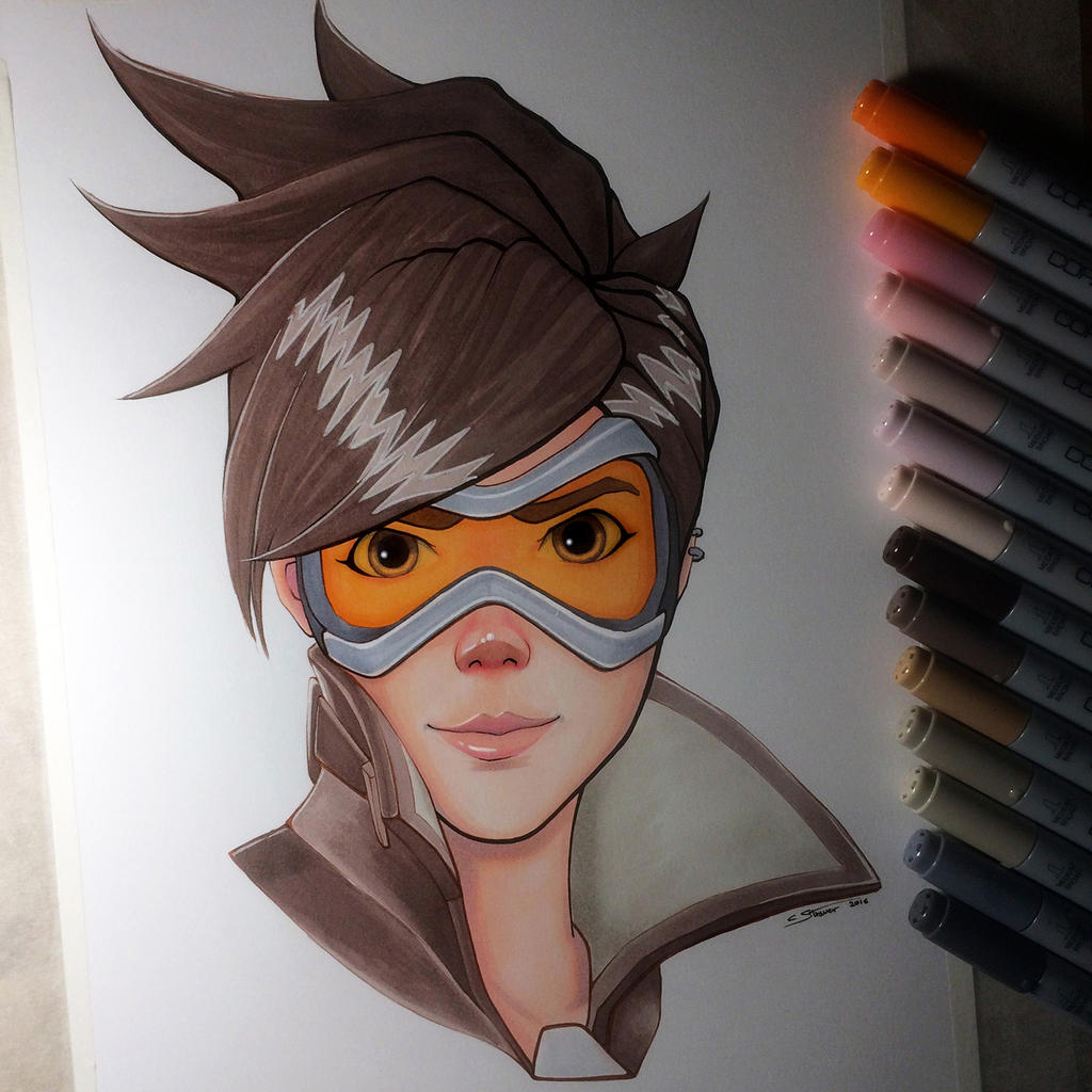 Tracer from Overwatch - Copic Drawing by LethalChris on ... Copic Markers Drawing