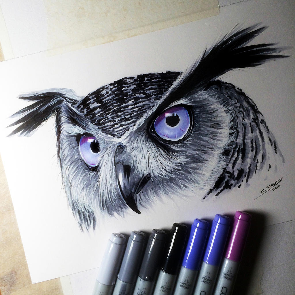 Owl Copic Marker Drawing by LethalChris on DeviantArt Copic Markers Drawing