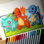 Charmander, Squirtle + Bulbasaur - Pokemon Drawing