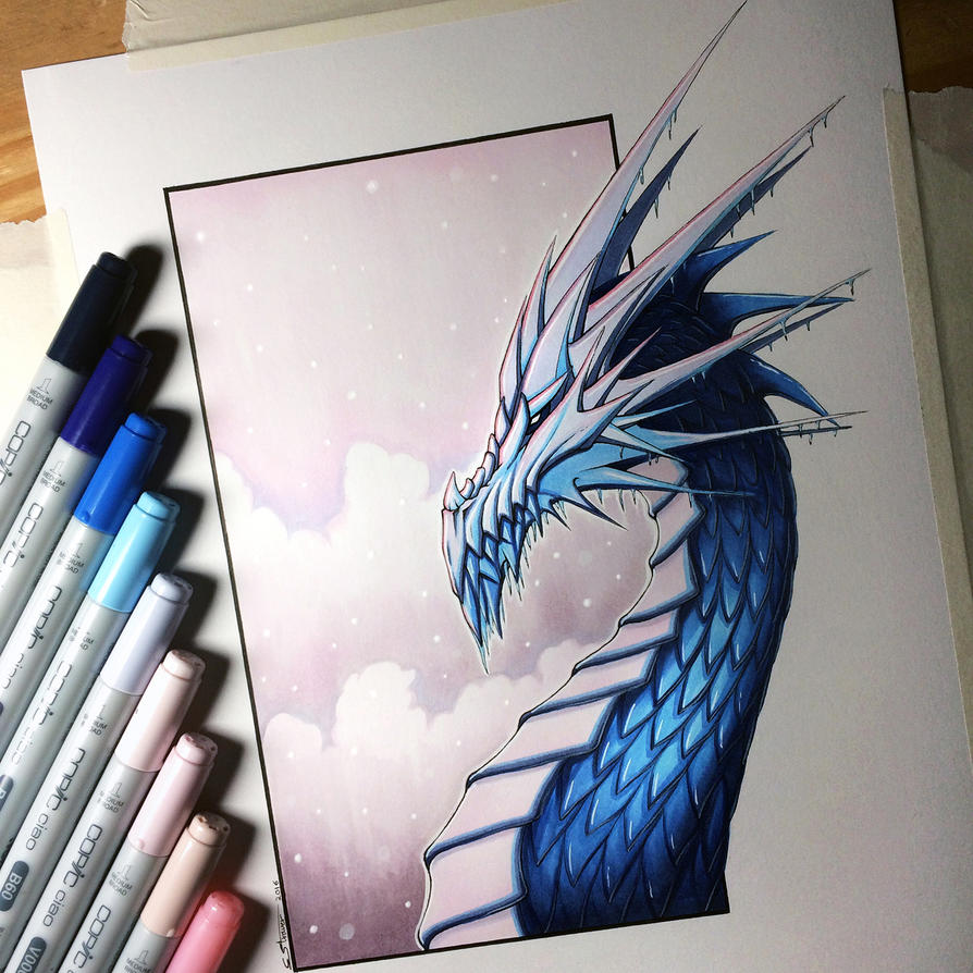 Ice Dragon Drawing by LethalChris on DeviantArt