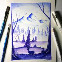 Deer + Mountain Watercolour Painting