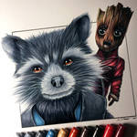Rocket Raccoon and Baby Groot Drawing