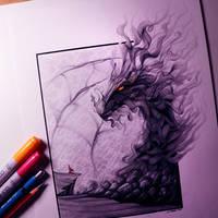 Smoke Dragon Drawing by LethalChris