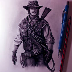 John Marston Drawing - Red Dead Redemption