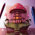 Mushroom House - Fantasy Painting