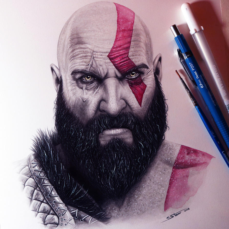 Kratos from God of War - Drawing by LethalChris