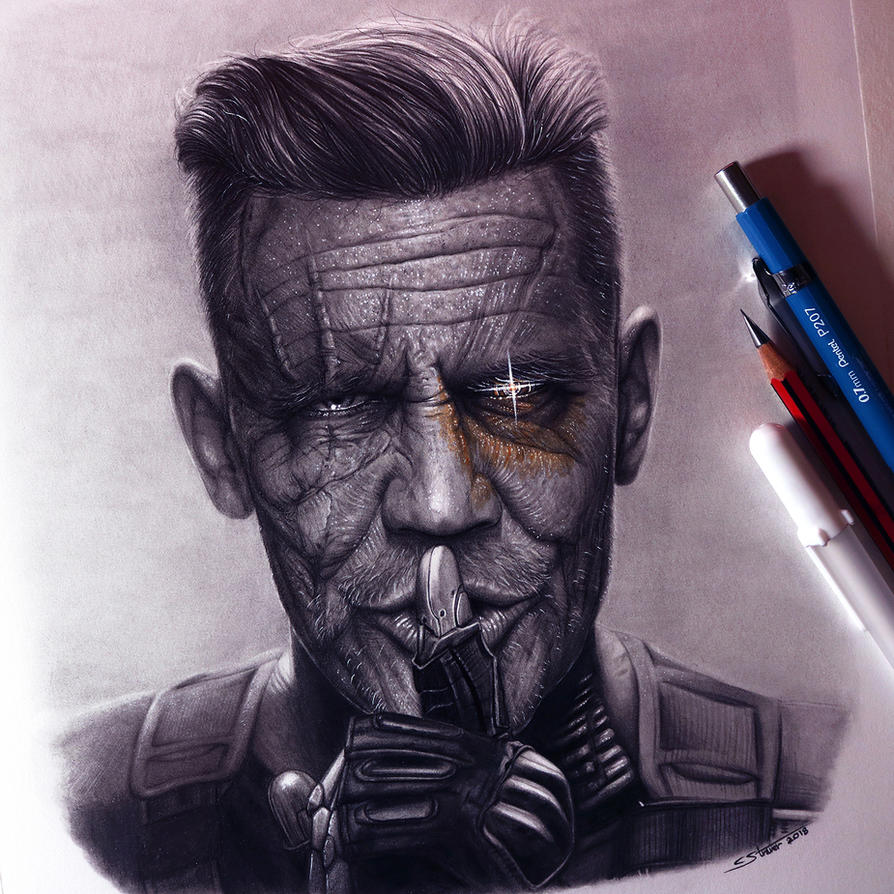 Cable Drawing - Deadpool 2 Fan Art by LethalChris