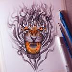 Smoke Tiger Drawing