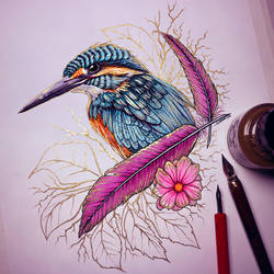 Kingfisher - Gold Ink Drawing by LethalChris