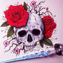 Skull and Roses - Glass Dip Pen Drawing