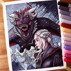 Daenerys and Drogon Drawing - Game of Thrones by LethalChris