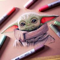 Baby Yoda Drawing - The Mandalorian Fan Art