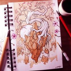 Floating Island Coffee Drawing