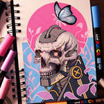 Posca Pen and Copic Marker Cyberpunk Skull Drawing