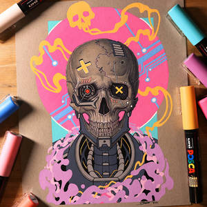 Cyberpunk Skull - Posca and Copic Drawing