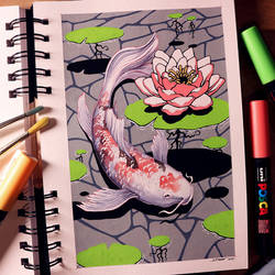 Koi Carp - Posca Pen and Watercolour