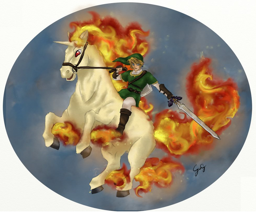 Link and Rapidash by blahhpandas