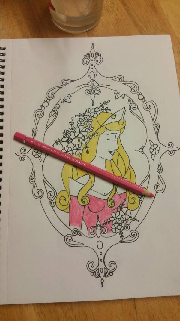 Sleeping Beauty framed WIP  by BlackheartedPhoenix