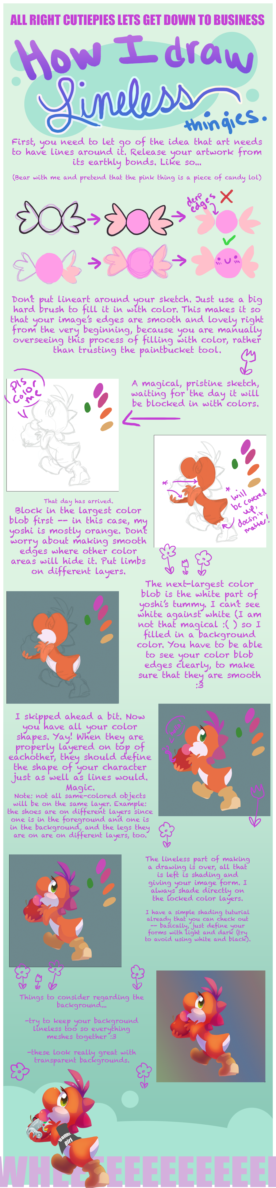How to color your art in photoshop -  Tutorial How I Draw Lineless By Celebi Yoshi