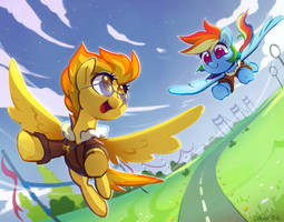 <b>Commission: Spitfire + Rainbow Dash</b><br><i>Dawnf1re</i>