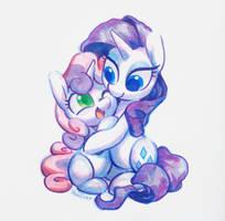 Copic marker Sweetie + Rarity by Celebi-Yoshi