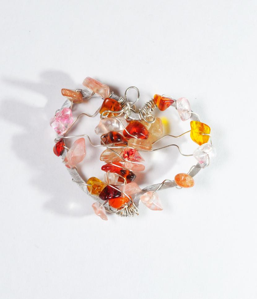 sardius and rose quartz heart by Rolary