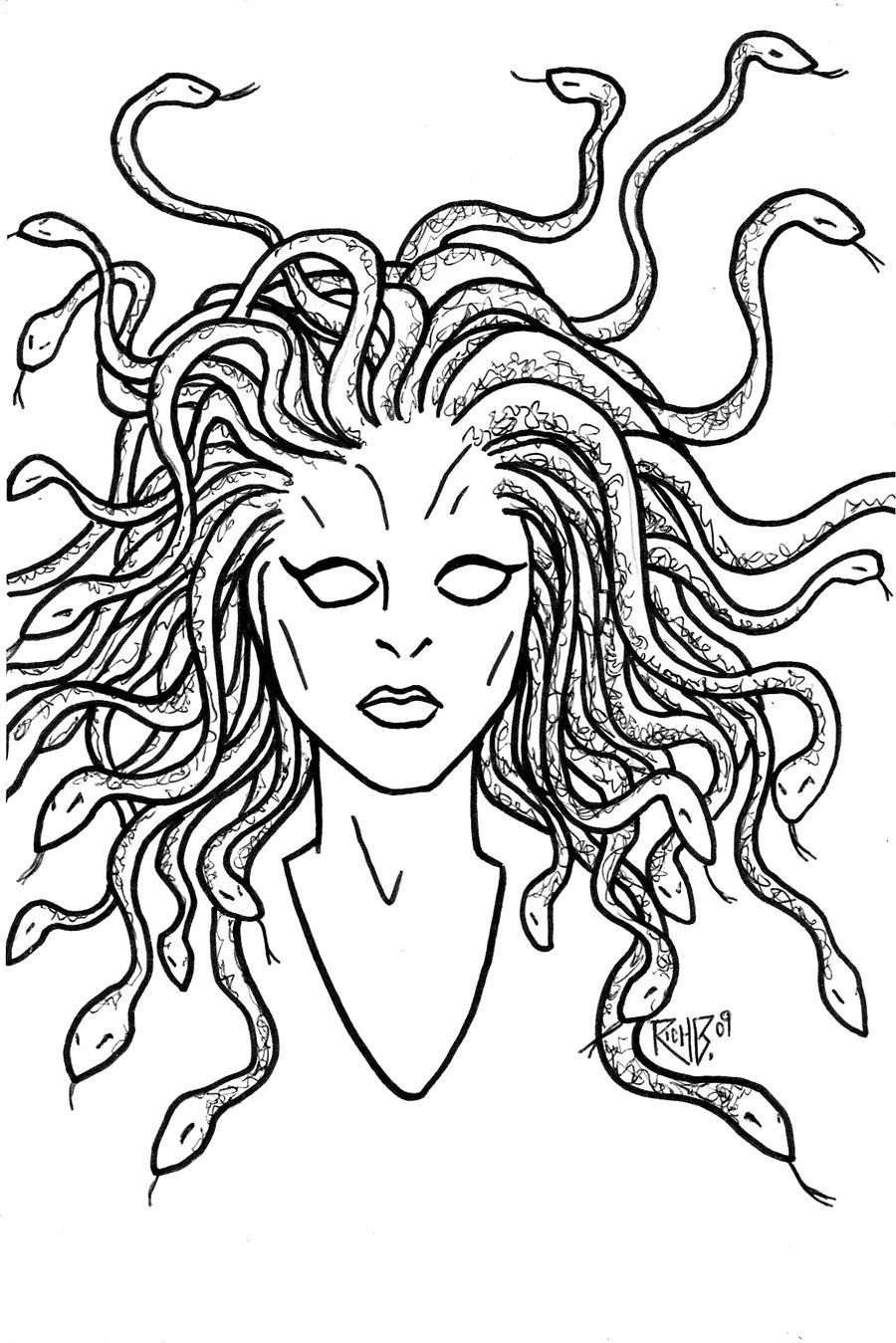 medusa coloring page medusa mythology by richbernatovech on deviantart