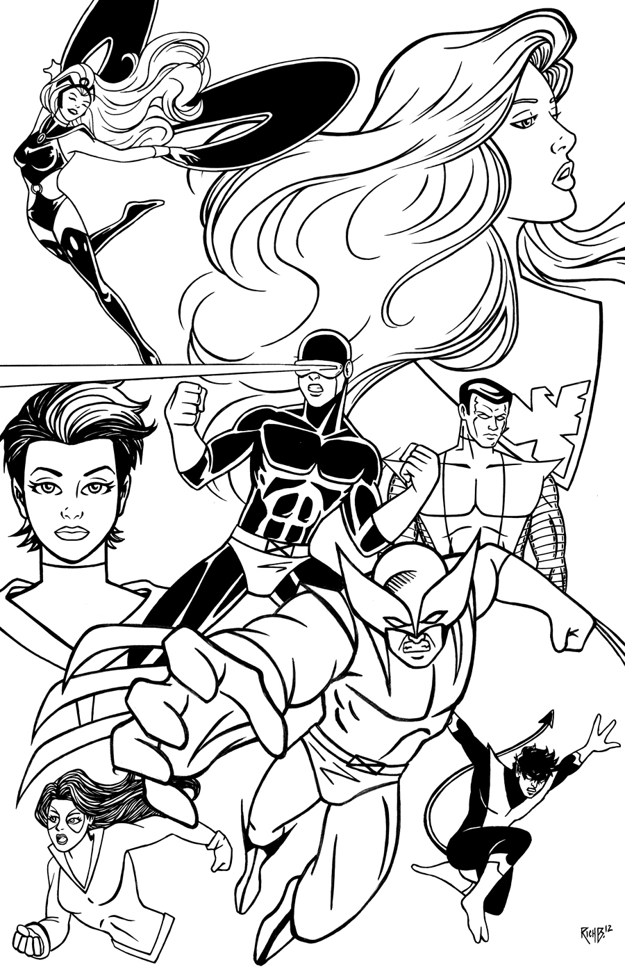 x men pinup inks by richbernatovech on deviantart